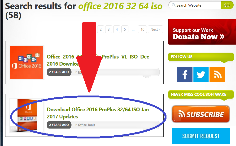 search result ms office 2016